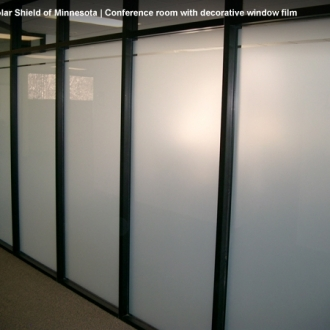 Conference room with white frost decorative window film.