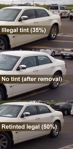 Comparison of illegal to legal tint